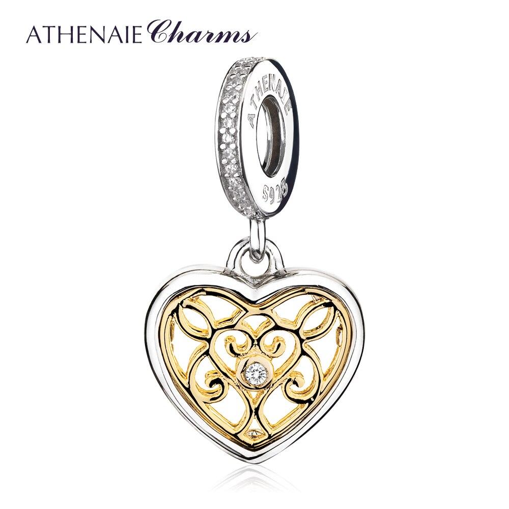 ATHENAIE 925 เงินสเตอร์ลิง Pave 14Kt จี้ทองและ Clear CZ โรแมนติกหัวใจ Charms ลูกปัดสร้อยคอและสร้อยข้อมือสำหรับผู้หญิง บน   1