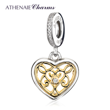 ATHENAIE 925 Sterling Silver Pave 14Kt Gold Pendant and Clear CZ Romantic Heart Charms Beads Fit Necklace & Bracelets For Women