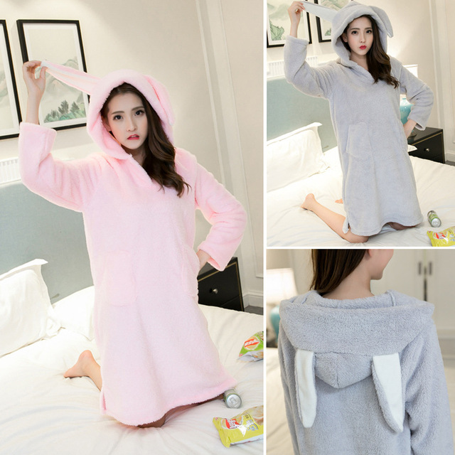 Winter Coral Fleece Princess Nightgown Cartoon Hooded Long Sleeved Dress Women Night Sleepwear Thickened Night Dress Sleep Dress