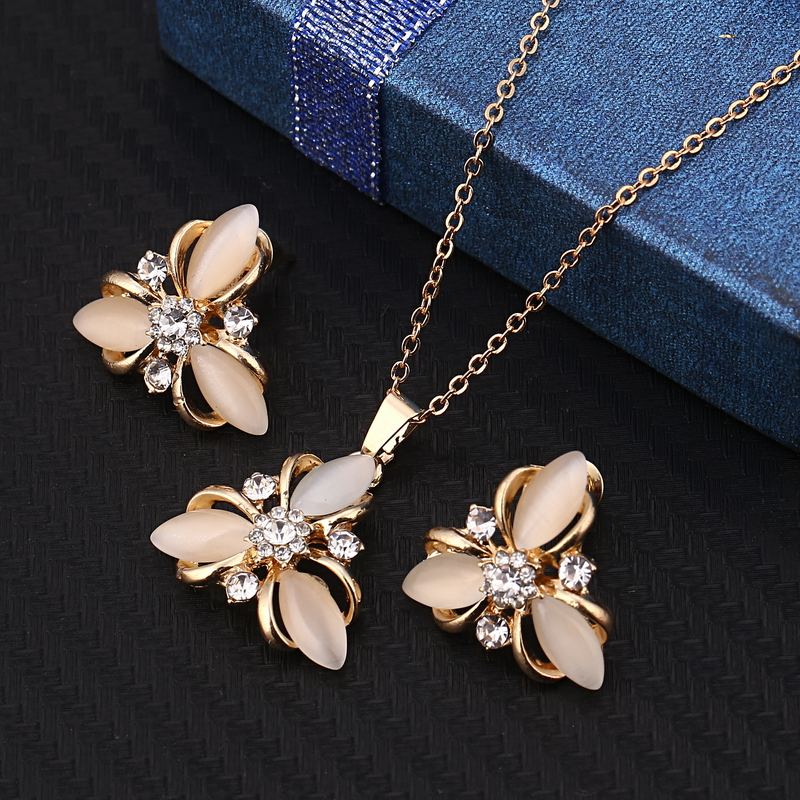 Fashion Opal Jewelry Sets Pandent Necklace Stud Earrings Crystal Natural Cat's Eye Stone Crystal Jewelry Set For Women