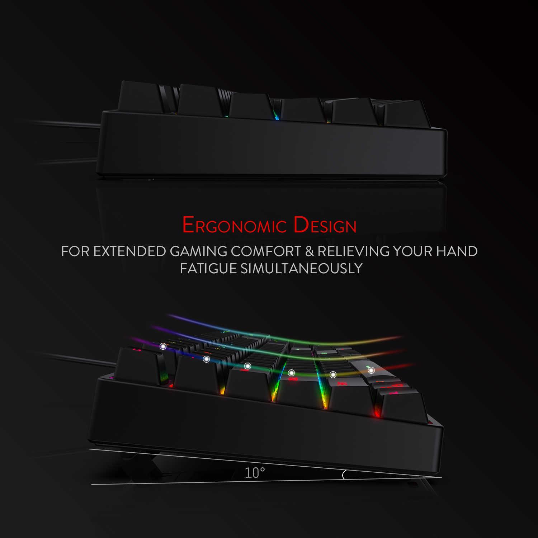 لوحة مفاتيح ألعاب ميكانيكية بإضاءة خلفية LED من Redragon K582 SURARA RGB مع 104 مفاتيح-مفاتيح خطية وهادئة باللون الأحمر تشغيل سريع