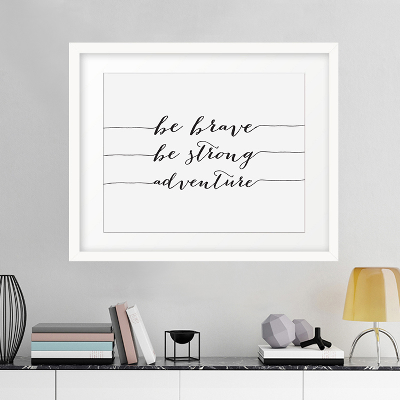 Sayings Wall Art Canvas : Aliexpress buy be brave strong adventure canvas