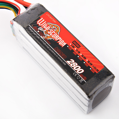 1pcs Wild Scorpion Lipo Battery 22.2V 2800mAh 30C 6S For RC Quadcopter Drone Helicopter Car Airplane wild scorpion 11 1v 5500mah 35c rc car helicopter model plane lipo battery free shipping