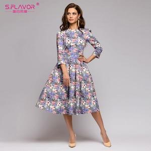 Image 3 - S,FLAVOR Women Summer Midi Dress Hot Sale Elegant Printing A line Dress For Female O neck Long sleeve Vintage Casual Vestidos