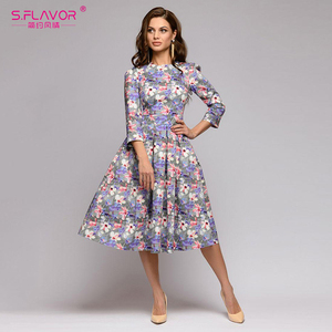 Image 3 - S, SMAAK vrouwen Herfst Winter dress hot koop Casual Stijl afdrukken lange jurk voor vrouwelijke O hals lange mouw losse vestido
