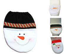 Snowman Santa Toilet Seat Cover and Rug Bathroom Set Contour Rug Christmas Decorations For Natal Navidad