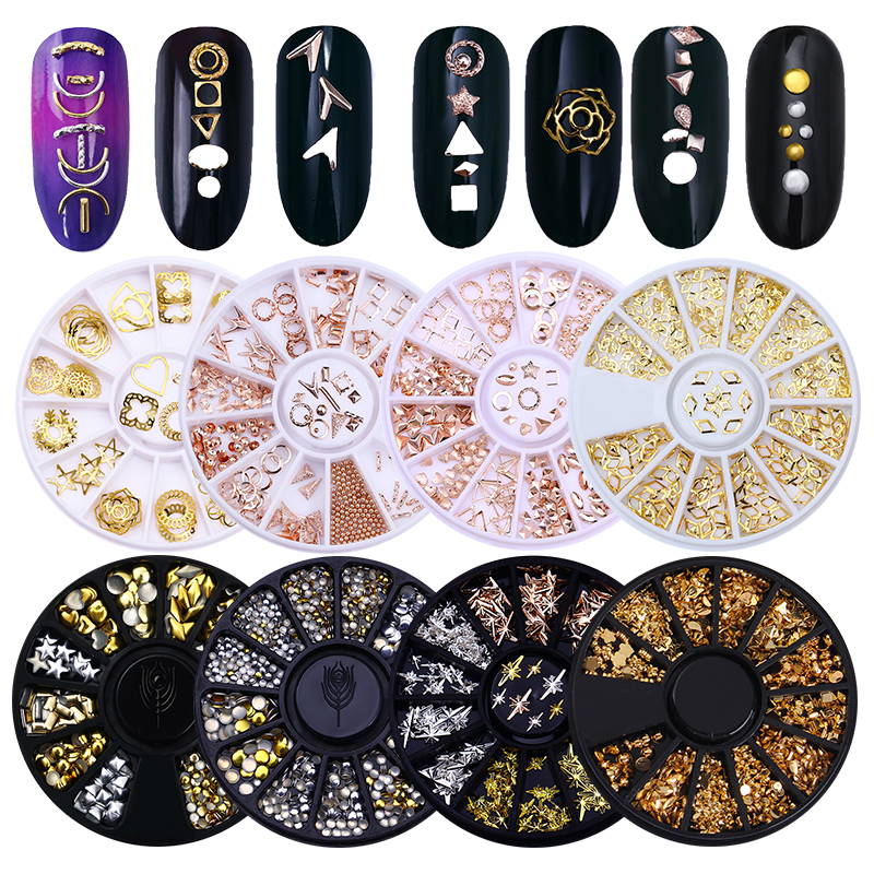 12 Mönster / Box Rose Gold Plated 3D Nagel Dekoration i Wheel Hollow Metal Studs Manikyr Nail Art Decorations Body Art