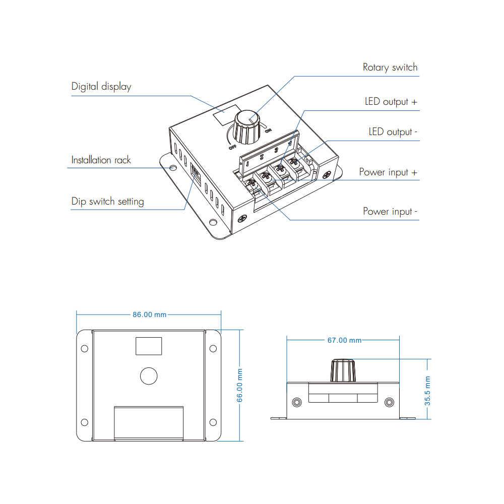 Поворотный Светодиодный диммер постоянного тока 12 В 24 В ШИМ Беспроводная Частота Регулируемая 20A Одиночная цветная светодиодная лента контроллер регулятор 12 Вольт диммер переключатель