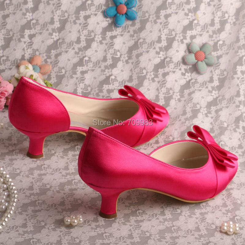 Bride Collections Low Heel Wedding Shoes Hot Pink Bow Tie Pumps ...