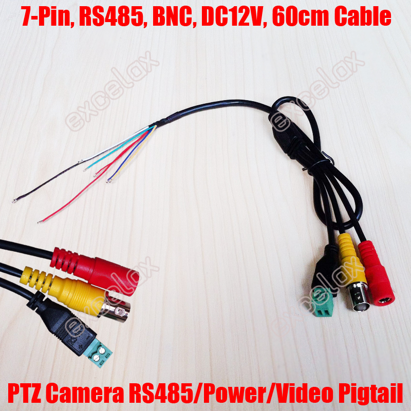 Customize 100pcs  Lot 60cm 7 Pin Rs485 Connection   Dc12v Power Input   Bnc Video Output Cable