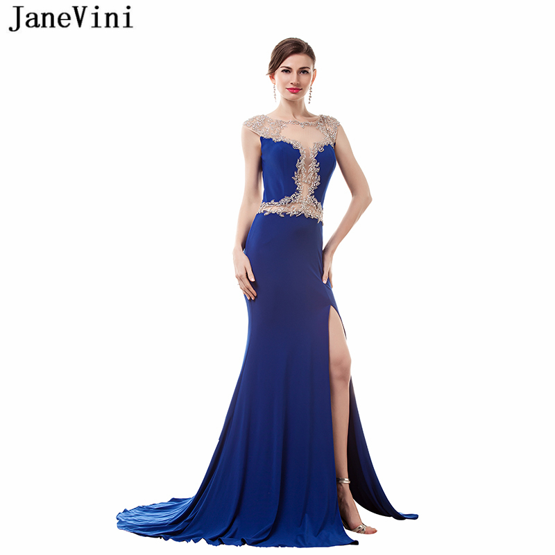 JaneVini 2018 Royal Blue Satin Beading Long   Bridesmaid     Dresses   Sweep Train High Split Illusion Back Formal Prom Gowns for Women