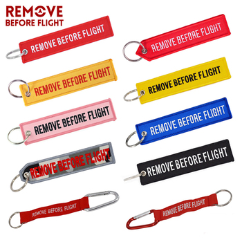 Llavero con bordado rojo para regalo de aviación OEM, llavero con etiqueta para equipaje