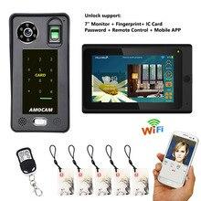 7 inç Kablolu/Kablosuz Wifi Parmak Izi RFIC Şifre Görüntülü Kapı Telefonu Zil İnterkom 1000TVL Kablolu Kamera APP kilidini Kayıt