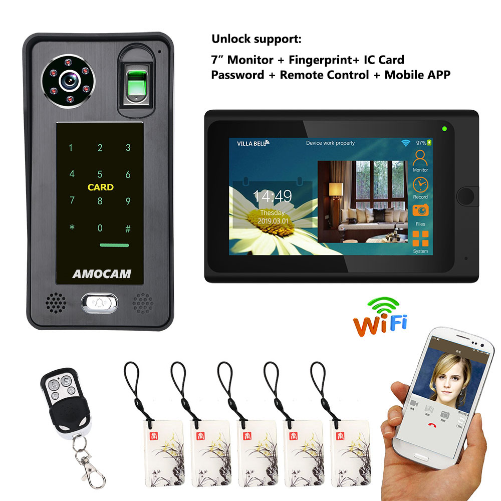 7 Inch Wired / Wireless Wifi Fingerprint RFIC Password Video Door Phone Doorbell Intercom 1000TVL Wired Camera APP Unlock Record