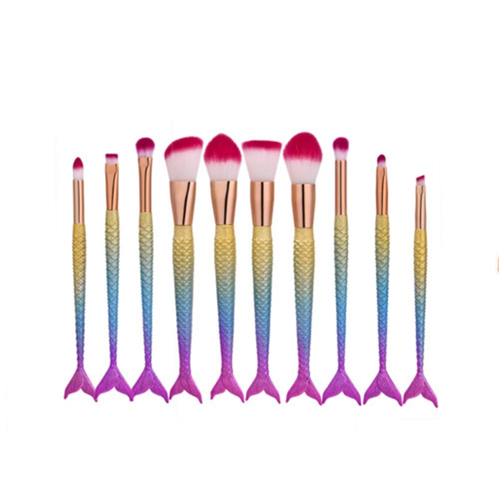 Professional 10 PCS Mermaid Makeup Brushes Set Foundation Blending Powder Eyeshadow Contour Concealer Blush Cosmetic Makeup Tool 5pcs silver mermaid makeup brushes set newest high quality fishtail shape eyeshadow eyliner blush cosmetic concealer brushes