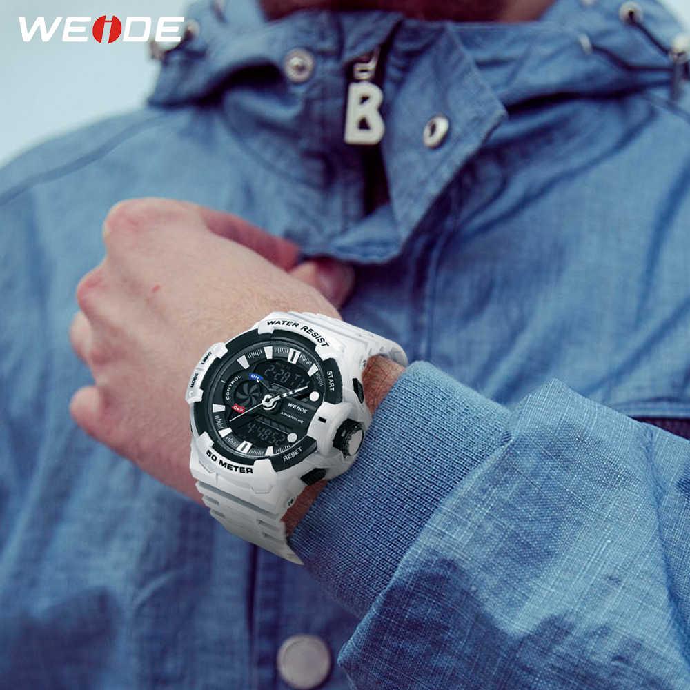 WEIDE גברים ספורט אנלוגי LCD דיגיטלי צבאי צבא הכרונוגרף לוח שנה קוורץ PU רצועת להקת שעון יד שעון Relogio Masculino