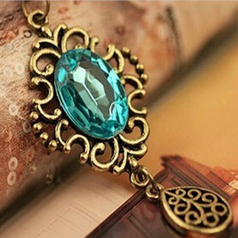 Retro Hollow Blue Gem Water Drop Necklace Long Sweater Chain Pendant  4ND79