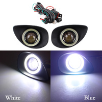 1 pair Car Clear Lens Angel Eye Fog Light Front Driving Lamp H11 Bulbs Switch Kit+Grille Cover Bezel For Toyota Yaris 2008 2010