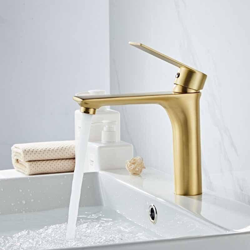 Robinet de Lavabo salle de bains évier brossé doré robinet mitigeur trou robinet bassin robinets Grifo Lavabo lavage chaud froid mitigeur robinet grue