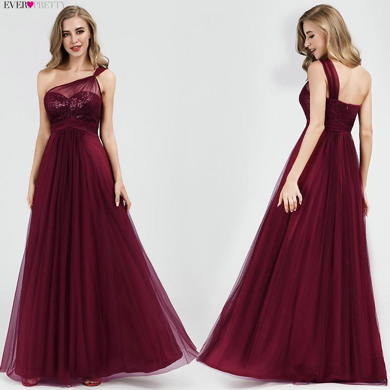 Burgundy   Bridesmaid     Dresses   Long Seuqin One-shoulder A-line Wedding Guest Party   Dresses   For Women Robe Demoiselle D'honneur