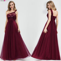 Burgundy Bridesmaid Dresses Long Seuqin One shoulder A line Wedding Guest Party Dresses For Women Robe Demoiselle D'honneur