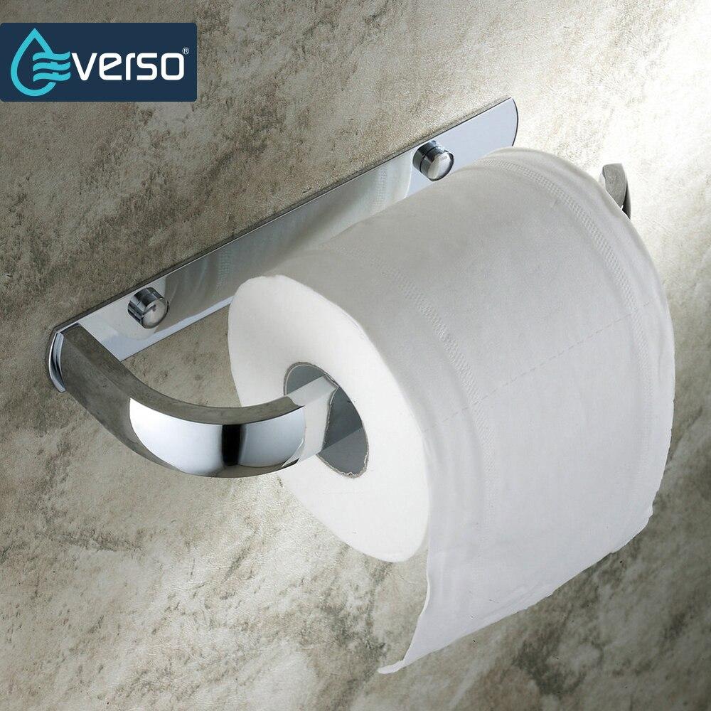 EVERSO Acier Inoxydable Rouleau De Papier Toilette Titulaire Wc Porte  Rouleau de Papier Tenez Mur Monté par Ongles Accessoire De Salle dans  Supports À