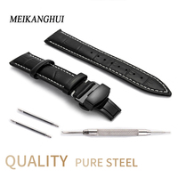 Watches band Leather Strap 12 13 14 15 16 17 18 19 20 22 24 MM Strap bracelet Watch accessories stainless steel butterfly buckle