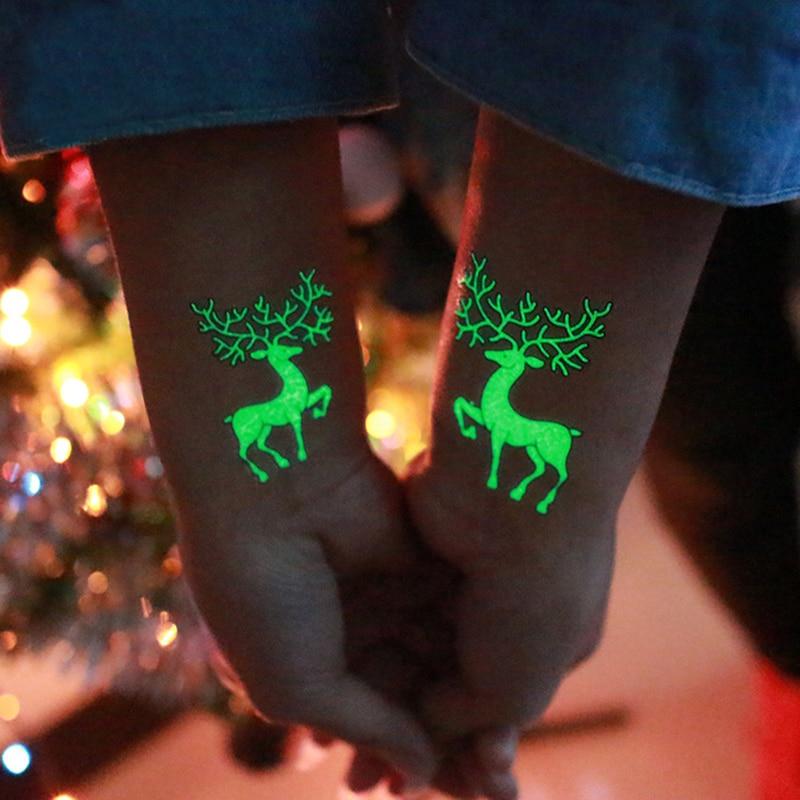 1 шт. светящиеся временные наклейки для тату украшение для вечеринки Рождество карнавал Вечеринка новогодний декор рождественские украшен...