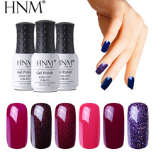 HNM 8ML Puro di Colore UV Del Gel Del Chiodo HA CONDOTTO LA Lampada UV Vernice GelLak Soak Off Gelpolish Semi Permanente Ibrido vernice Fortunato Lacca(China)