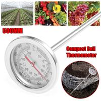 0 120Degree Compost Soil Thermometer Premium Stainless Steel Metal Probe Length 500MM
