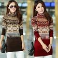 2015 новый осень зима свитер женщины теплый широкий длинные платья свитер печать перемычки бесплатная доставка