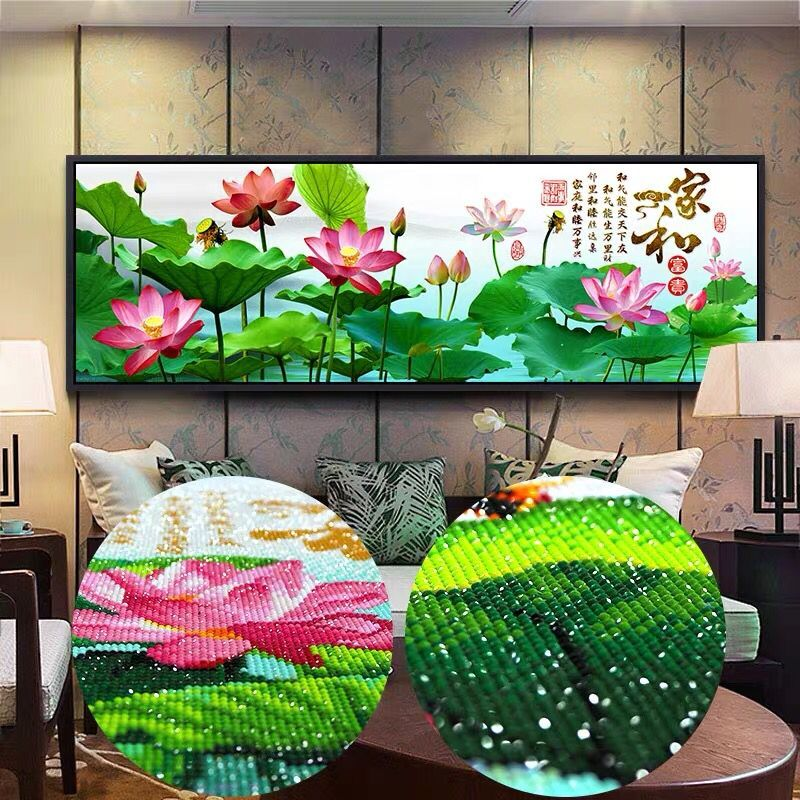 Rhinestone picture Full Round Drill Special Shaped Diamond Painting Lotus Flowers DIY 5D Cross Stitch home