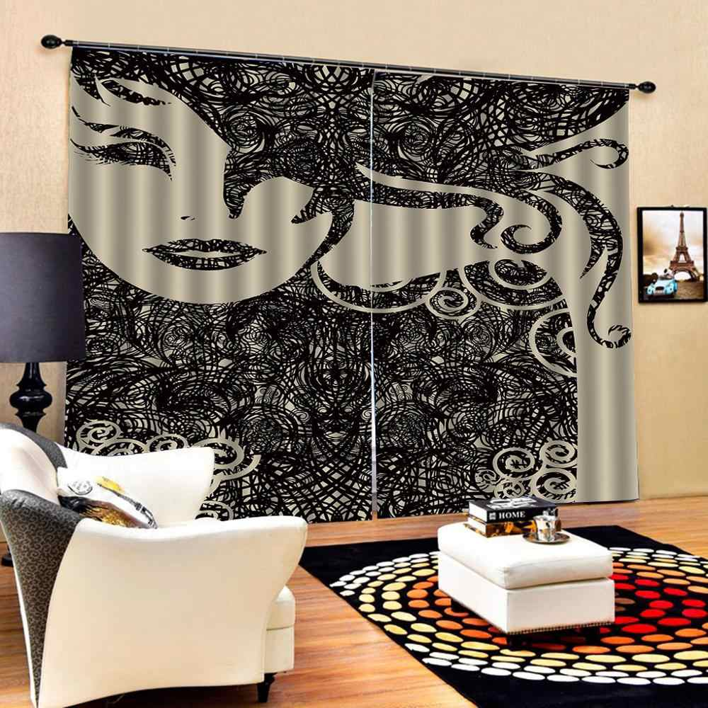 Customized size Luxury Blackout 3D Window Curtains black grils curtains for girls room Blackout curtain