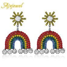 Ajojewel Beautiful Rhinestone Rainbow Earrings For Women Lady Star Statement Dangle Earrings 2019 Drop Ship Bijoux все цены