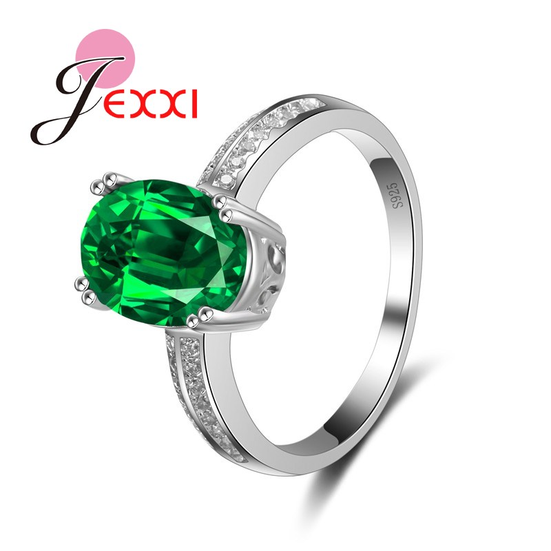 JEXXI New Hotsale Jewelry Fashion 925 Stamp Sterling Silver Big Clear Green Crystal Wedding Accessory Women Classic Rings