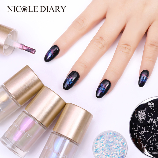Nicole Diary 9ml Mermaid Series Stamping Polish Shell Nail Shiny Glitter Art Lacquer