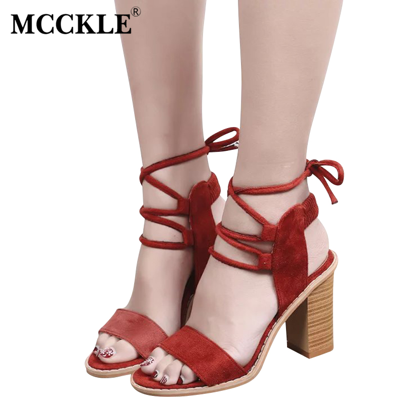 MCCKLE 2017 New Fashion Woman Shoes Women's Sandals Black Chunky Heel Ankle Wrap Open Toe Casual Comfortable Summer mcckle new fashion women s summer comfortable shoes open toe black buckle female casuals flat platform sandals woman shoes