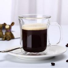 300 ml taza de café de oficina de gramos de manera transparente tazas de vidrio borosilicato resistente al calor del aislamiento de calor de doble taza de café