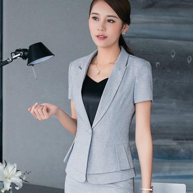 2447f5ac82f4 Summer Elegant Women Blazer Ol Formal Slim Short Sleeve Jacket Office Lady Plus  Size Casual ClothingNotched