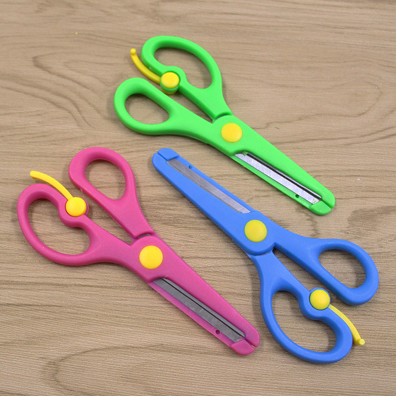 Three-color Stainless Steel Scissors Student Children Cut Cute Scratch-resistant Automatic Spring Back Child Safety Scissors