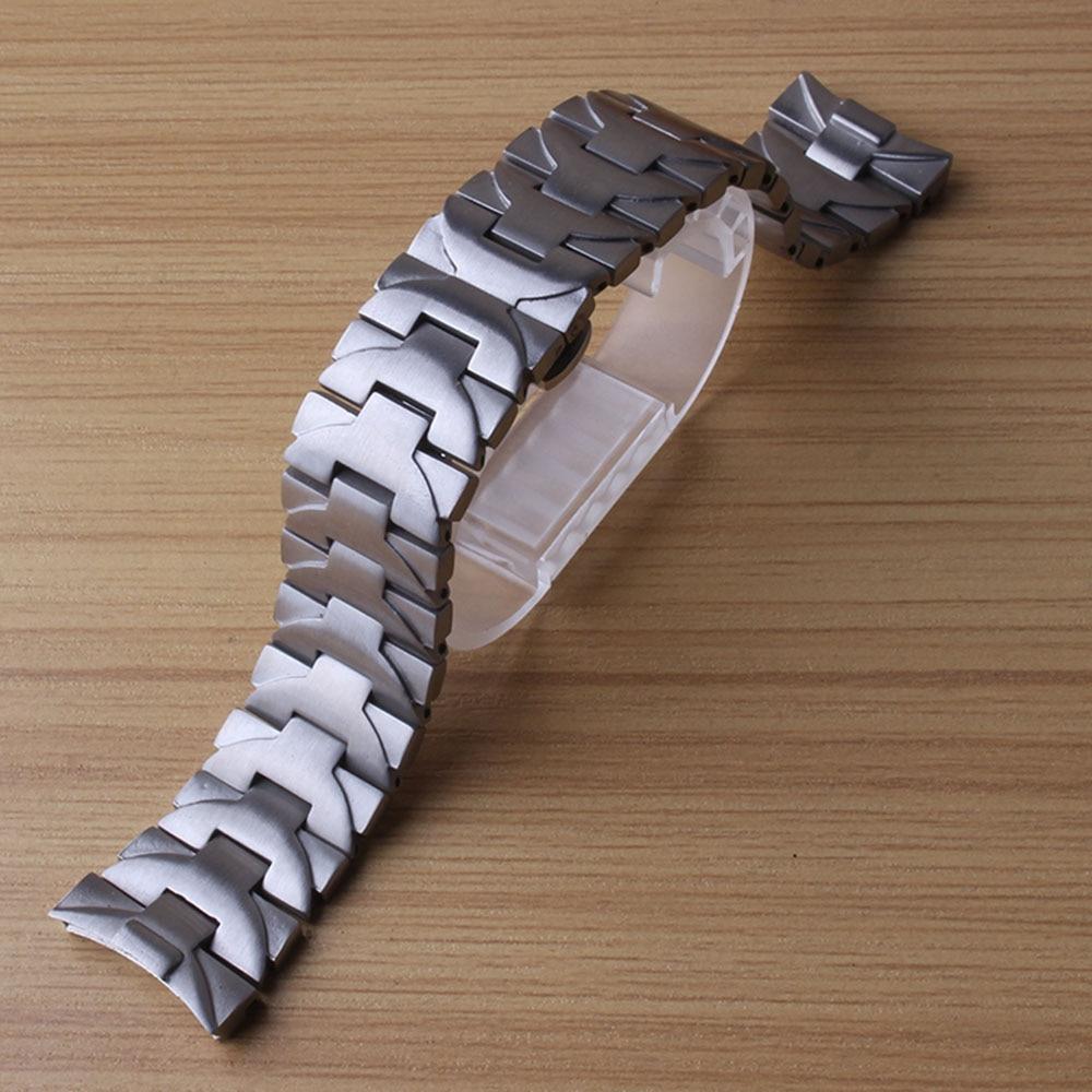 лучшая цена 24mm Watchbands Stainless steel matte Watch accessories Strap Bracelet for replacement brand watches men sport watchband special