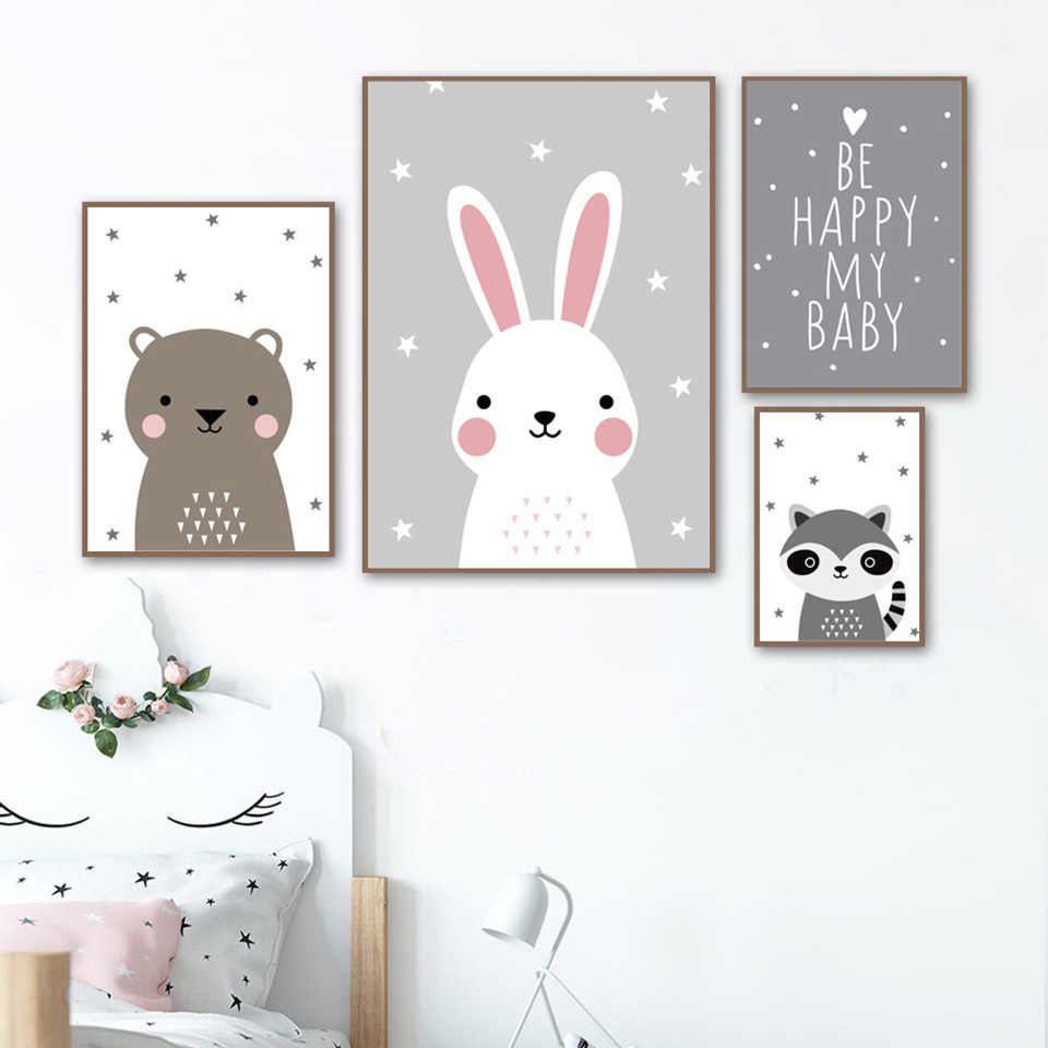 Cartoon Konijn Schilderen Maan Sterren Posters Wall Art Canvas Prints Fashion Home Decor Modulaire Foto Baby Kids Slaapkamer