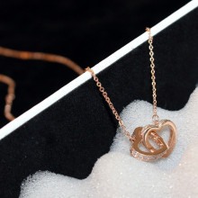 CX-Shirling Korea Star Fashion Real Rose Gold Plated Double Heart Necklace Quality Fine Pendant