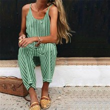Lady Sleeveless loose sexy jumpsuit Women Striped Playsuit Summer Casual Beach Rompers Overall