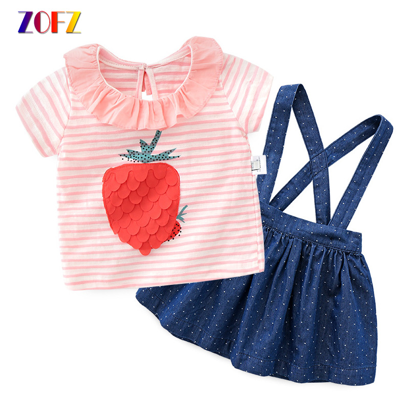 ZOFZ 2018 Baby Clothes Pink Pineapple Striped Tops and Blue Dot Denim Skirt 2Pcs Baby Set Suit Summer Cotton Girls Clothing 2pcs children outfit clothes kids baby girl off shoulder cotton ruffled sleeve tops striped t shirt blue denim jeans sunsuit set