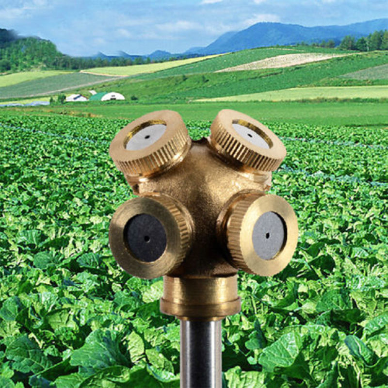 4 Düsen Sprühnebel Gartengras Rasensprinkler Bewässerungsanschluss