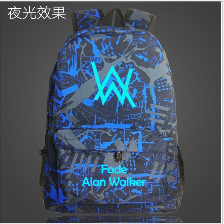 Alan Walker Faded Music School Bag Luminous Capacity Backpack Student Bag Notebook Backpack Daily Mochilas Glow In The Dark