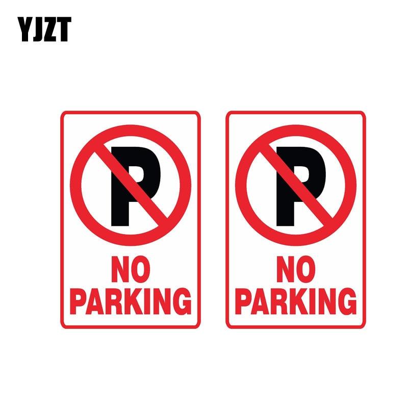 YJZT 2X 11 см * 7,2 см предупреждение без парковки Автомобильная наклейка светоотражающая забавная Наклейка ПВХ 12-0893