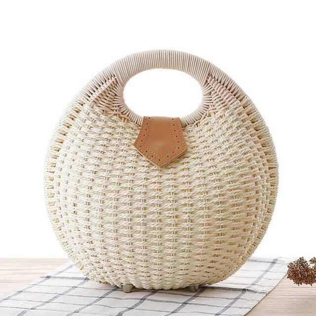 Fashion Shell Round Wicker Woven Women Handbags Designer Rattan Lady Shoulder Crossbody Bags Casual Summer Beach Straw Bag Purse