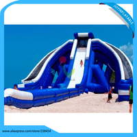 Giant amusement park pool slide inflatable water slip slide for sandy beach